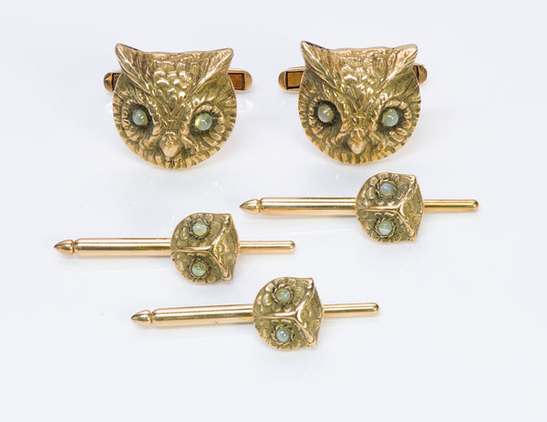 Owl Cats Eye Gold Cufflinks & Stud Set
