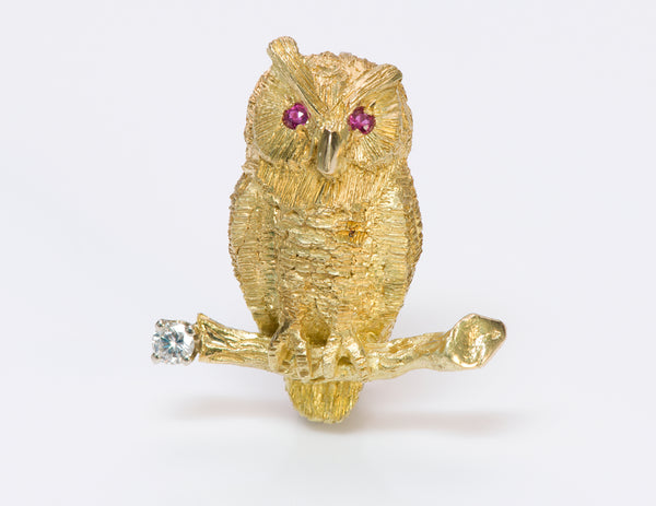 Owl Ruby Diamond 18K Gold Brooch Pin