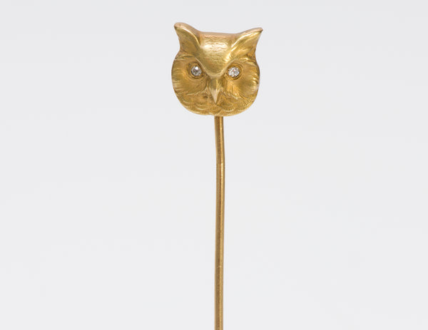 Antique 14K Gold Diamond Owl Stick Pin