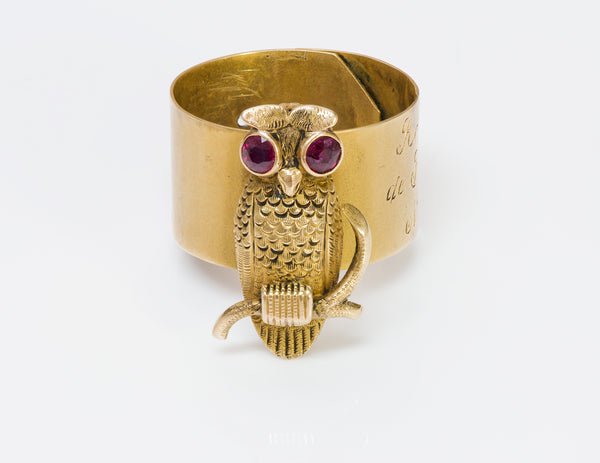 Antique Ruby Gold Owl Cane Mount Band
