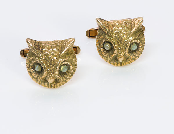 Vintage Owl Cats Eye Gold Cufflinks