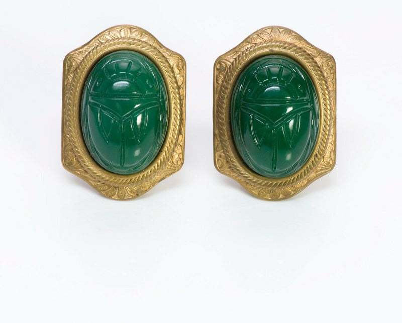 PATRICE Brass Green Glass Scarab Earrings