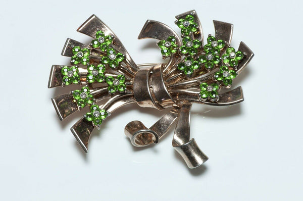 PENNINO 1940's Sterling Silver Green Crystal Flower Bow Brooch