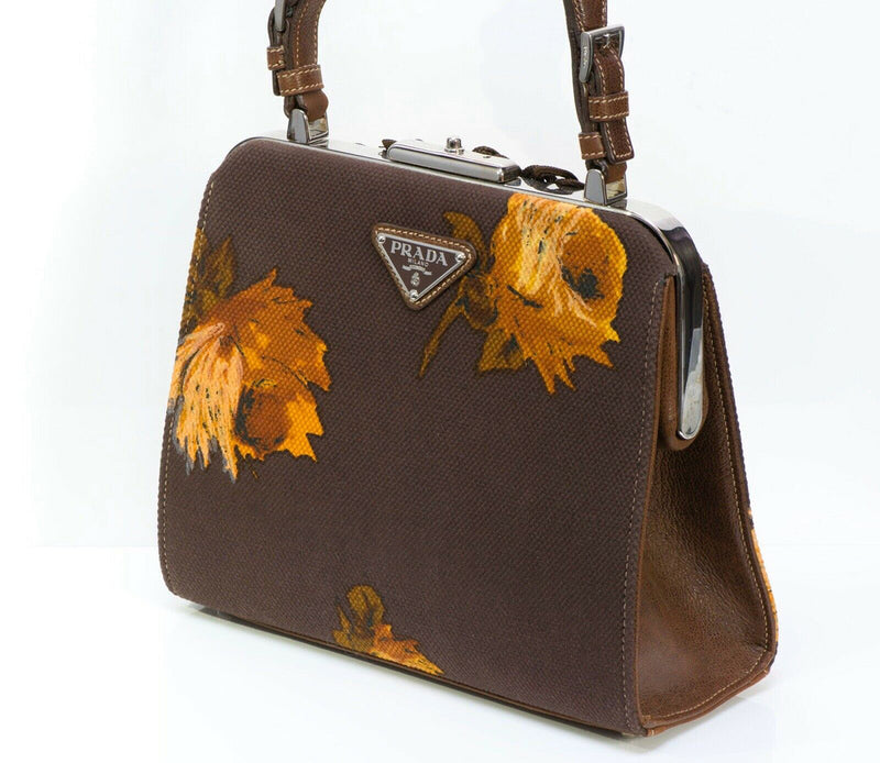 PRADA 2005 Madras Cerniera Brown Canvas Leather Embroidered Print Bag