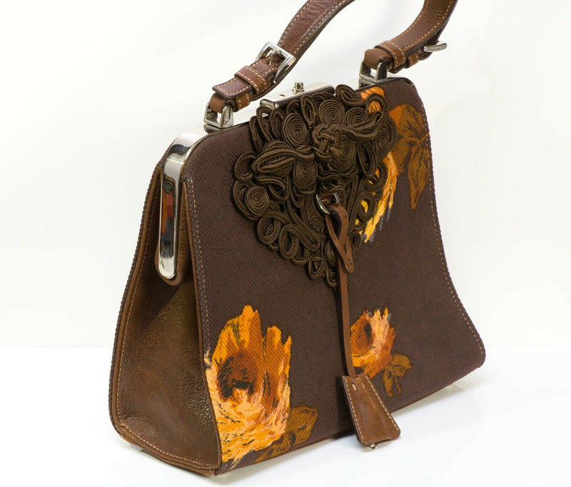 PRADA 2005 Madras Cerniera Brown Canvas Leather Embroidered Flower Bag