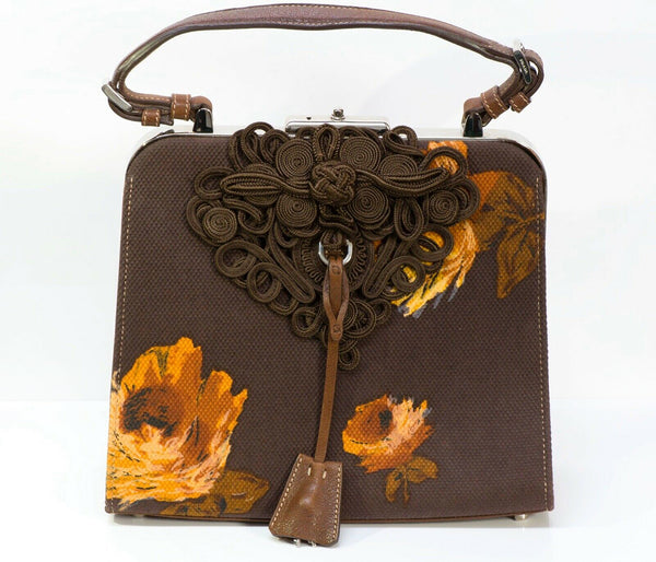 PRADA 2005 Madras Cerniera Brown Canvas Leather Embroidered Flower Print Bag