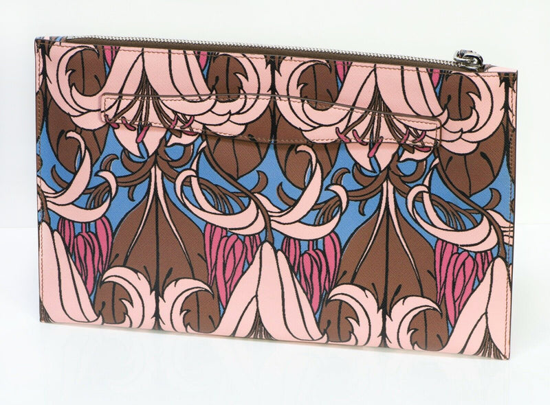 PRADA Lily Flower Print Leather Clutch Bag
