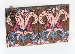 PRADA Lily Flower Print Brown Pink Leather Clutch Bag