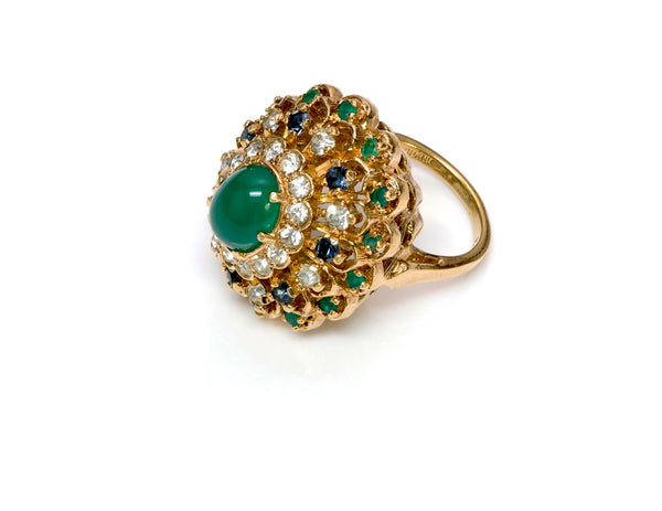 Panetta Faux Emerald Crystal Cocktail Ring 1