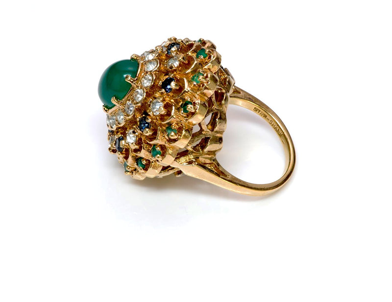 Panetta Faux Emerald Crystal Cocktail Ring 2