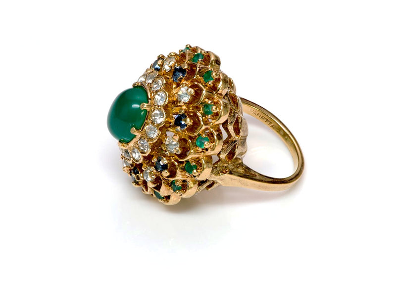 Panetta Faux Emerald Crystal Cocktail Ring 3