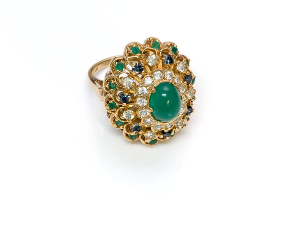 Panetta Faux Emerald Crystal Cocktail Ring