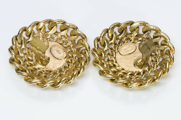 Patrick Kelly Paris 1980's Button Earrings Vintage