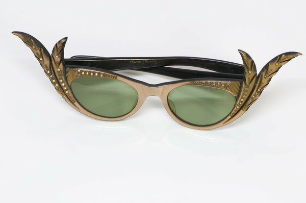 Paulette Guinet Vintage Carved Feather Cat-Eye Sunglasses