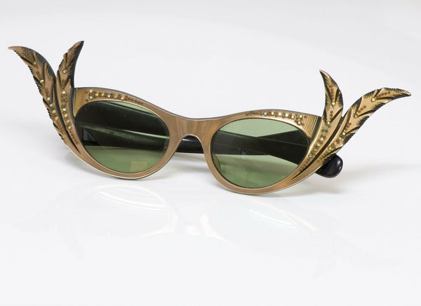 Paulette Guinet Paris 1950's Carved Feather Cat-Eye Sunglasses