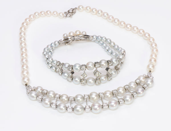 Vintage Pearl Diamond Platinum Necklace Bracelet
