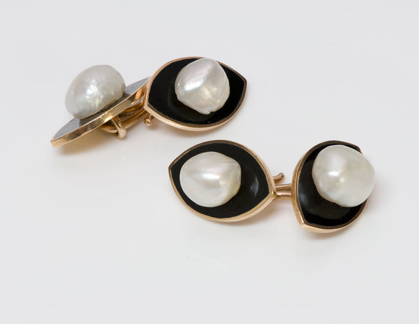 Pearl Gold Onyx Cufflinks