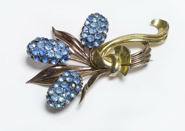 Vintage 1940's Pennino Sterling Silver Blue Crystal Cattail Brooch