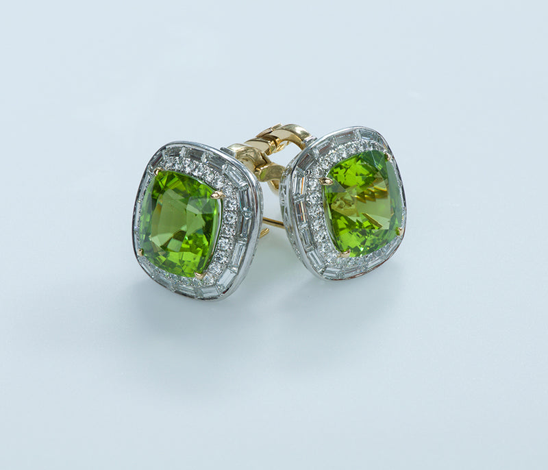 Peridot Diamond Earrings