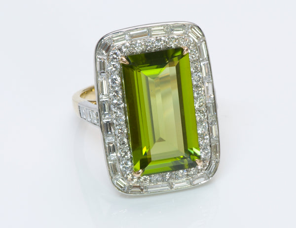Peridot Diamond Gold Platinum Ring