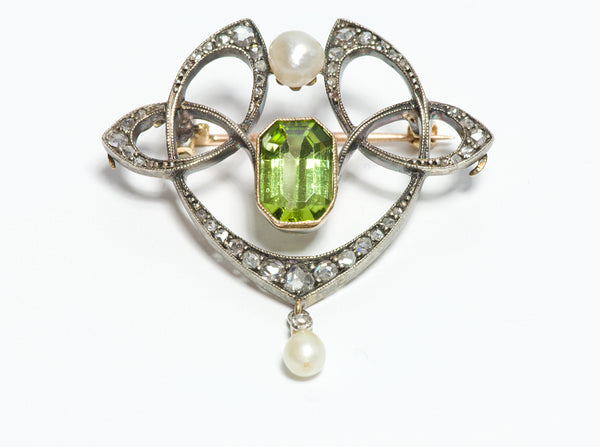 Art Nouveau Peridot Diamond Natural Pearl Pendant Brooch