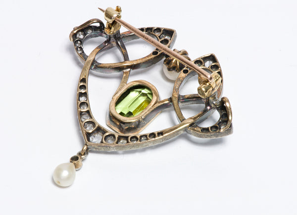 Art Nouveau Peridot Diamond Natural Pearl Brooch Pendant