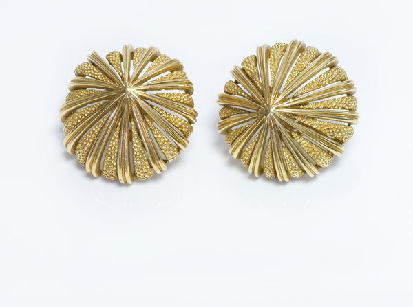 O J Perrin 18K Yellow Gold Earrings