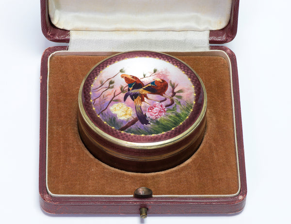 Antique 935 Silver Enamel Golden Pheasant Round Box