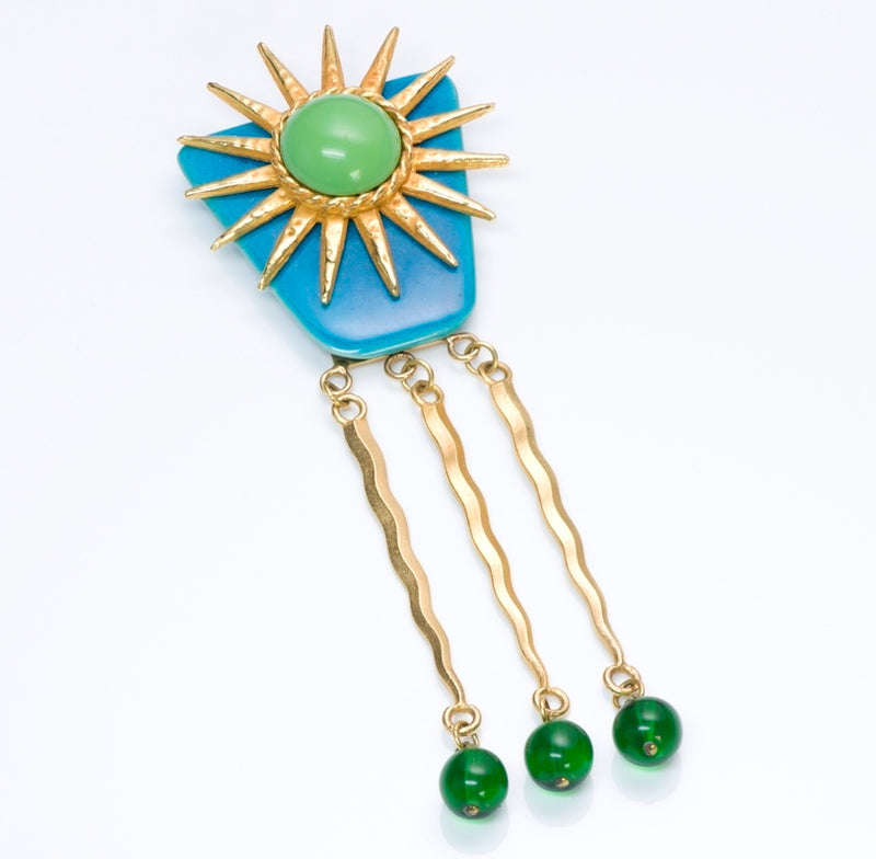Philippe Ferrandis Paris Ceramic Glass Sun Brooch