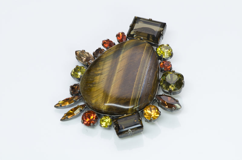 Philippe Ferrandis Tiger Eye Pendant Brooch