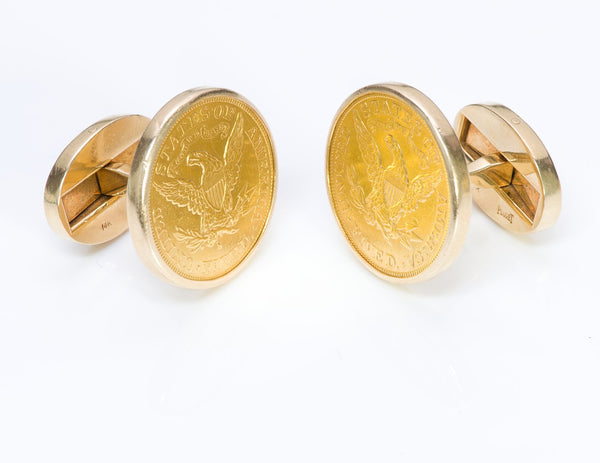 Piaget 22K Yellow Gold Coin Cufflinks 2