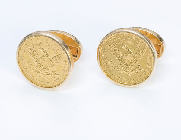 Piaget 22K Yellow Gold Coin Cufflinks