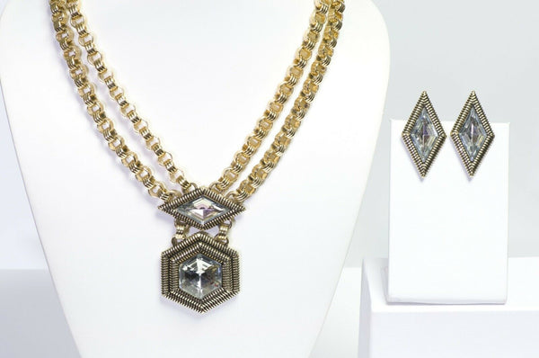 Pierre Cardin 1970's Chain Geometric Crystal Necklace Earrings Set