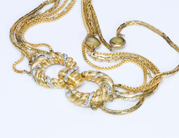 Pierre Cardin Gold Tone Multi Chain Glass Necklace