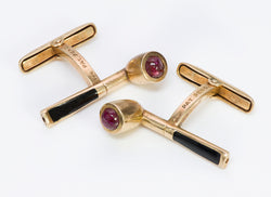 Vintage Smoking Pipe Gold Ruby Cufflinks