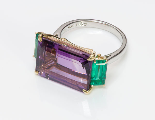 Amethyst Emerald Platinum Ring