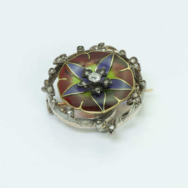 Antique Plique À Jour Flower Diamond Brooch