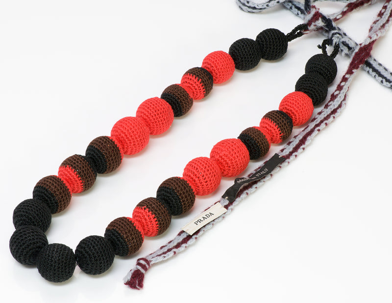 Prada Black Red Ball Macrame Crochet Necklace 1
