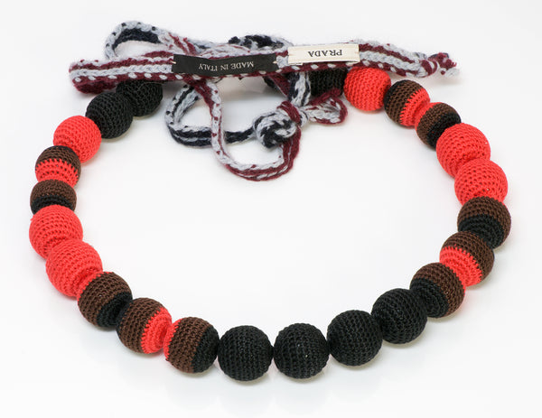 Prada Black Red Ball Macrame Crochet Necklace
