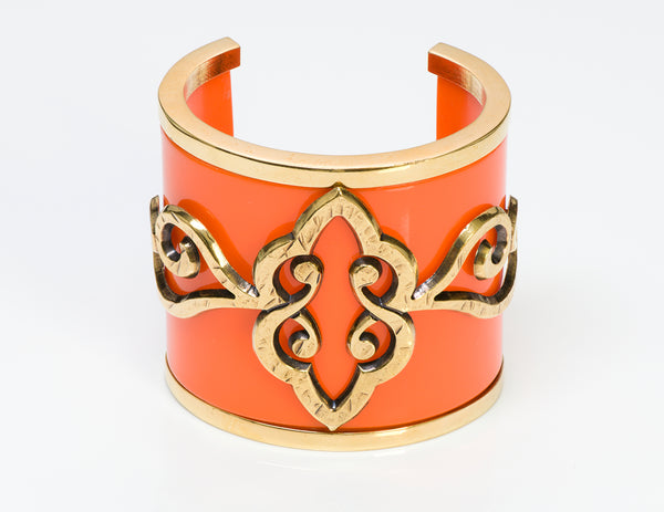 Emilio Pucci Orange Resin Baroque Style Cuff Bracelet