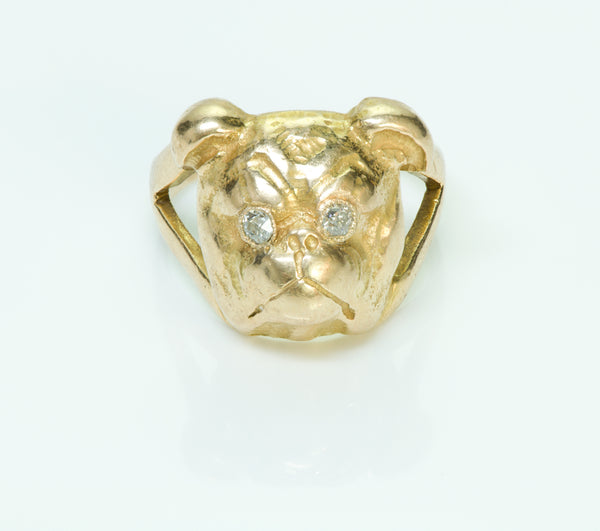 Bulldog Diamond Gold Vintage Ring