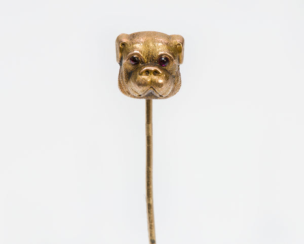 Antique Gold Bulldog Pug Garnet Stickpin