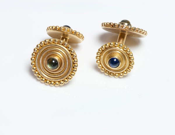 Reinstein Ross 22K Yellow Gold Gemstone Disc Cufflinks