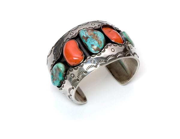 Roger Lewis Navajo Silver Coral Turquoise Cuff Bracelet