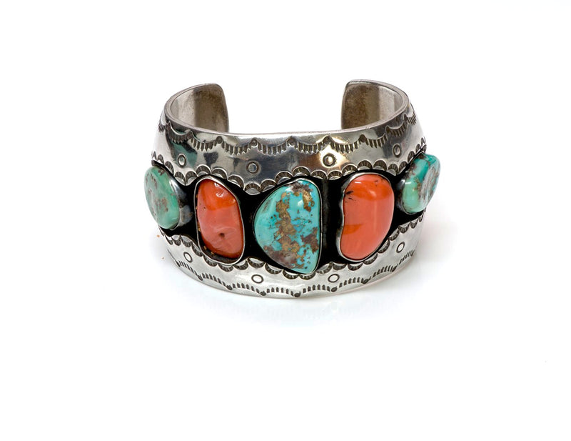Roger Lewis Navajo Silver Coral Turquoise Cuff Bracelet  1