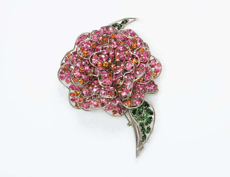 Roger Jean Pierre Depose Crystal Flower Brooch