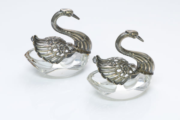 Vintage Raimond Silver Crystal Swan Salt Cellar Set