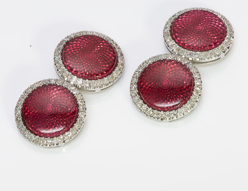 Platinum Guilloche Red Enamel Diamond Cufflinks