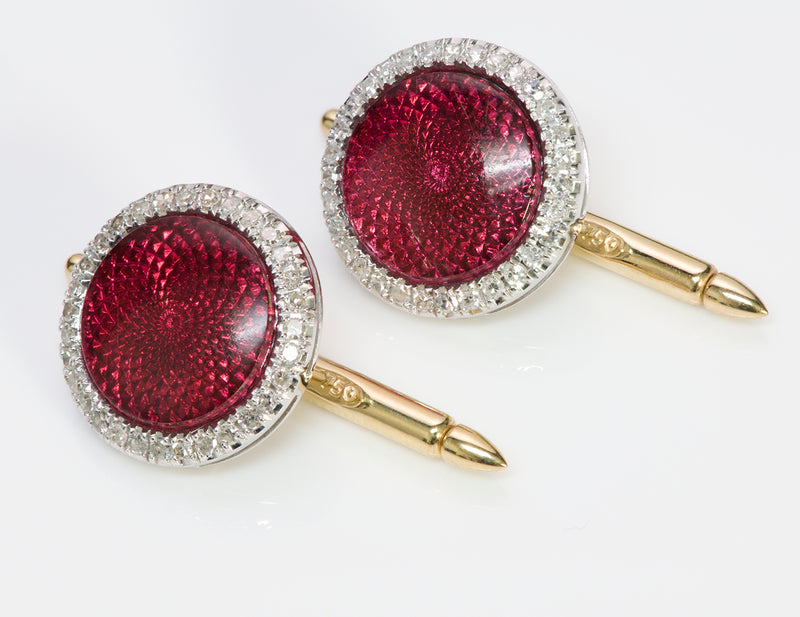 Platinum Guilloche Red Enamel Diamond Cufflinks Stud