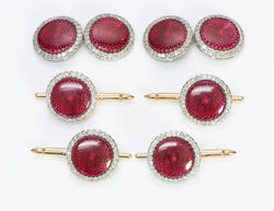 Platinum Guilloche Red Enamel Diamond Cufflinks Stud Set